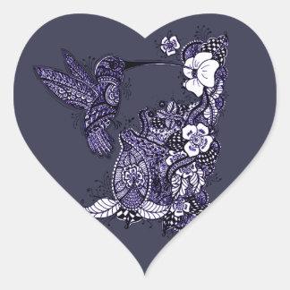 Hummingbird Feeding Heart Sticker