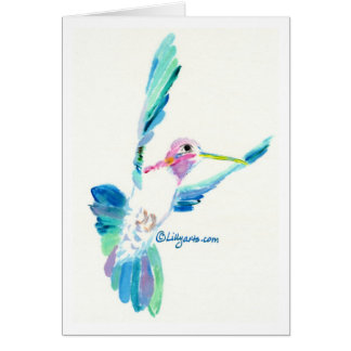 Hummingbird Flight Fine Art Painting Card