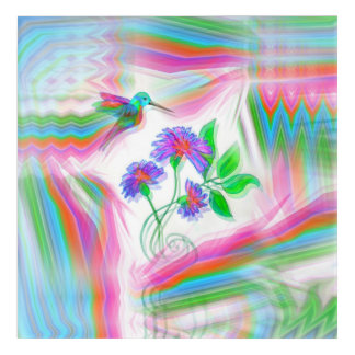 Hummingbird Flight Kaleidoscope Acrylic Wall Art