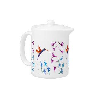 Hummingbird Floral Art Teapot