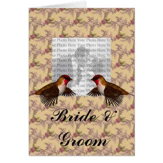 Hummingbird Floral Tan Colored Greeting Card