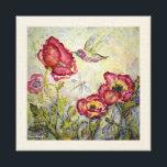 "Hummingbird Floral Watercolor Print Canvas 10x10<br><div class=""desc"">10x10 canvas print of original watercolor &quot;Joy &amp; Light&quot;&#169;,  watercolor on textured masa paper,  by Kari Anapol,  BloomingLotusStudio.com</div>"