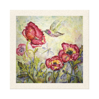 Hummingbird Floral Watercolor Print Canvas 10x10