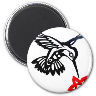 Hummingbird & Flower 2 Inch Round Magnet
