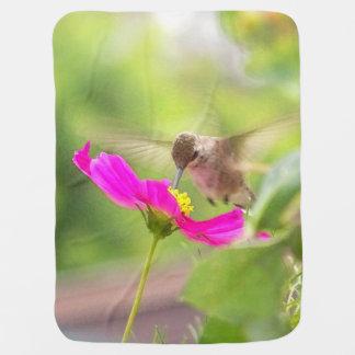 Hummingbird & Flower Baby Blanket