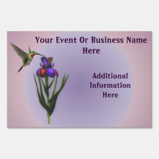 Hummingbird Flower Business Or Event Yard Sign