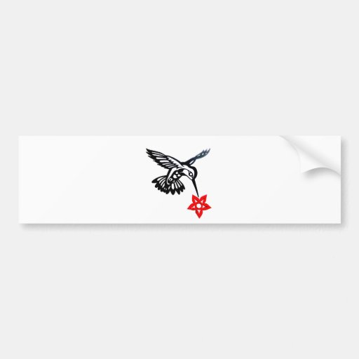 Hummingbird & Flower Edited.jpg Car Bumper Sticker