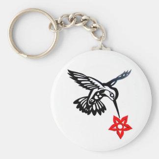 Hummingbird & Flower Edited.jpg Basic Round Button Keychain