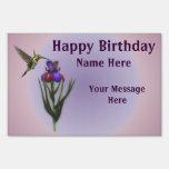 Hummingbird Flower Happy Birthday Yard Sign