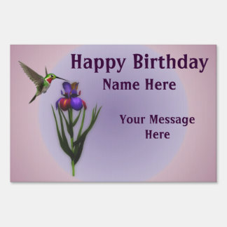 Hummingbird Flower Happy Birthday Yard Sign