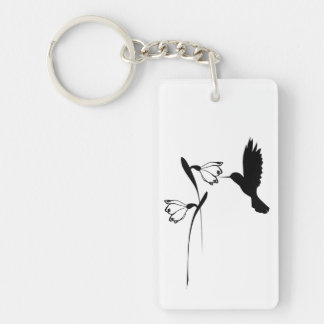 Hummingbird & Flower Silhouette Keychain