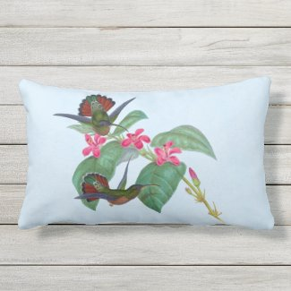 Hummingbird Flower Sky Blue Outdoor Lumbar Pillow