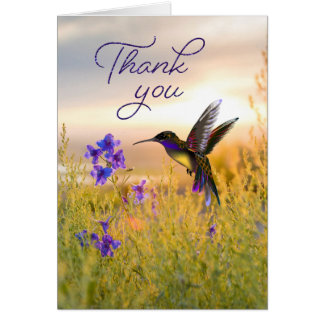 Hummingbird Flower Thank You Note Cards