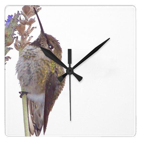 Hummingbird Flower Wall Clock