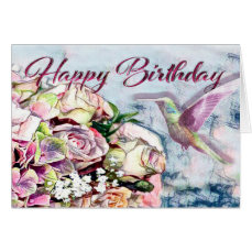 Hummingbird Flowers and Happy Birthday Card