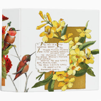 Hummingbird Flowers Bermuda Island Floral Poem Binder