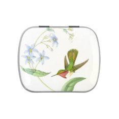 Hummingbird & Flowers Candy Tin at Zazzle