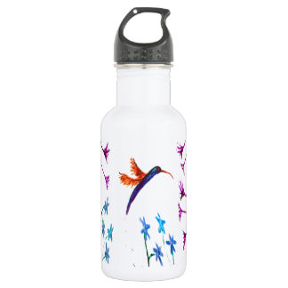 Hummingbird flowers floral bird art stainless steel water bottle