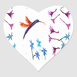 Hummingbird Flowers Floral Heart Sticker