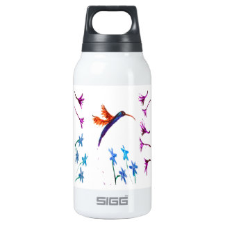 Hummingbird flowers insulated water bottle