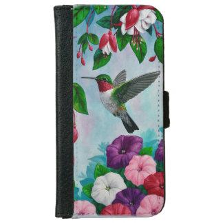 Hummingbird Flying in Flower Garden iPhone 6 Wallet Case