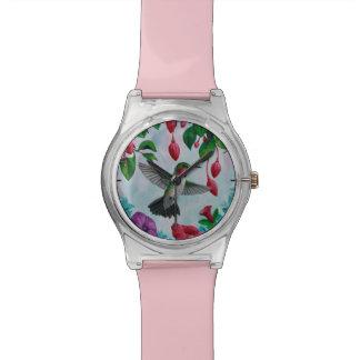 Hummingbird Flying in Flower Garden Wrist Watch