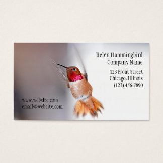Hummingbird Flying Photo Business Card