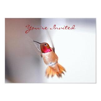 "Hummingbird Flying Photo 5"" X 7"" Invitation Card"
