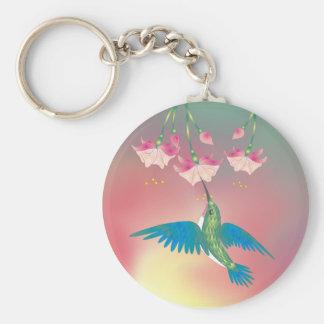 HUMMINGBIRD & FUCHSIA by SHARON SHARPE Basic Round Button Keychain