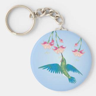 HUMMINGBIRD & FUCHSIA by SHARON SHARPE Keychain