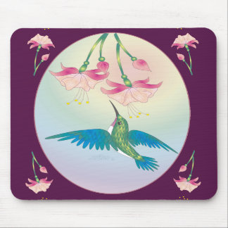 HUMMINGBIRD & FUCHSIA by SHARON SHARPE Mousepad