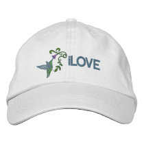Hummingbird Garden Embroidered Baseball Cap