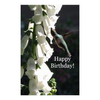 Hummingbird Garden Happy Birthday Stationery Design