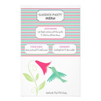Hummingbird Garden Party Menu Personalized Flyer