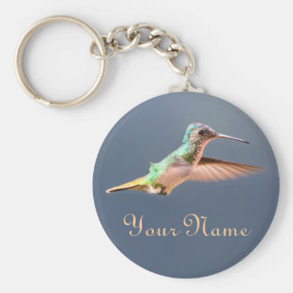 Hummingbird Golden Tailed Sapphire in Flight Name Basic Round Button Keychain