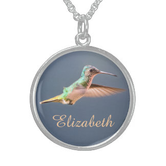 Hummingbird Golden Tailed Sapphire in Flight Name Sterling Silver Necklaces