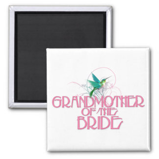Hummingbird Grandmother of the Bride 2 Inch Square Magnet