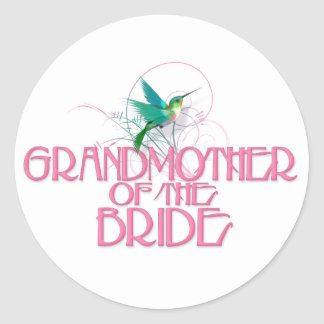 Hummingbird Grandmother of the Bride Classic Round Sticker