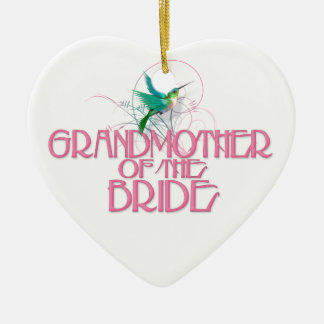 Hummingbird Grandmother of the Bride Double-Sided Heart Ceramic Christmas Ornament