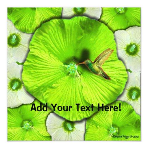 Hummingbird Green and White Hibiscus Wedding  Invi 5.25x5.25 Square Paper Invitation Card