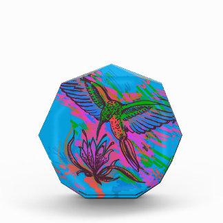 Hummingbird hand drawing bright illustration. Neon Award