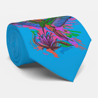 Hummingbird hand drawing bright illustration. Neon Neck Tie