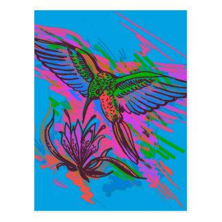 Hummingbird hand drawing bright illustration. Neon Postcard