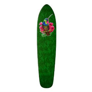Hummingbird hand drawing bright illustration. Neon Skateboard
