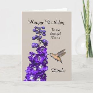Hummingbird Happy Birthday Cousin, Linda Card
