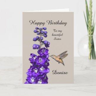 Hummingbird Happy Birthday Sister, Denise Card