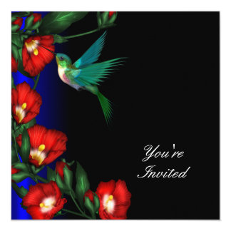 Hummingbird Hibiscus Birthday Party Template Card
