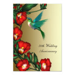 Hummingbird Hibiscus Gold 50th Wedding Anniversary 5x7 Paper Invitation Card