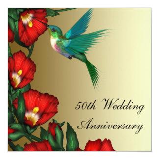 Hummingbird Hibiscus Gold 50th Wedding Anniversary Personalized Invitations