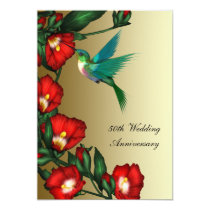 Hummingbird Hibiscus Gold 50th Wedding Anniversary Invitation